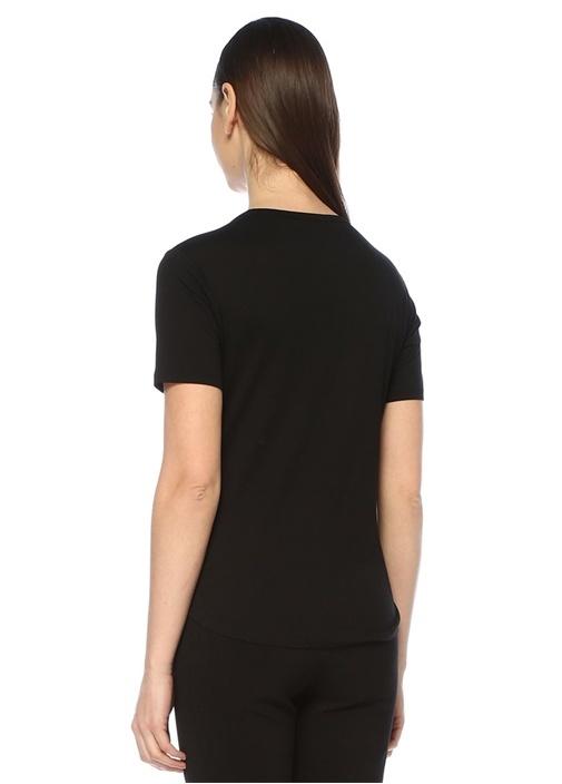 Siyah Bisiklet Yaka Klasik T-shirt