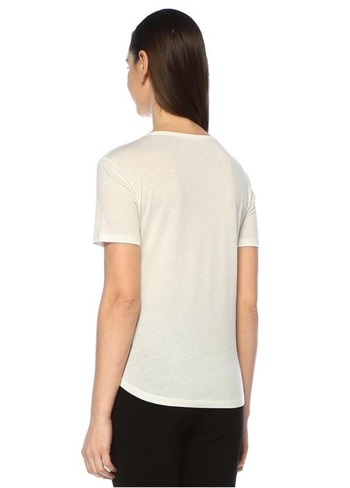 Beyaz Bisiklet Yaka Klasik T-shirt
