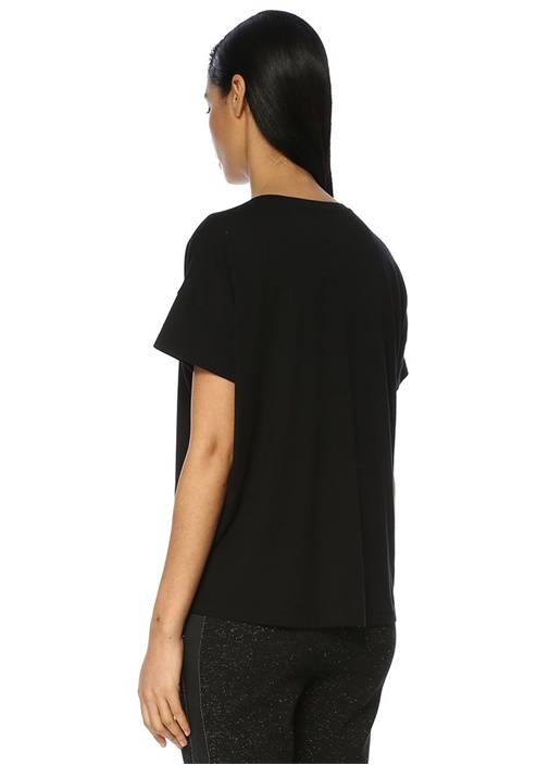 Siyah Bisiklet Yaka Boncuk İşlemeli T-shirt