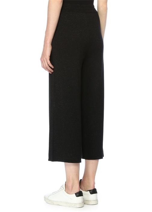 Siyah Simli Yüksek Bel Crop Triko Pantolon