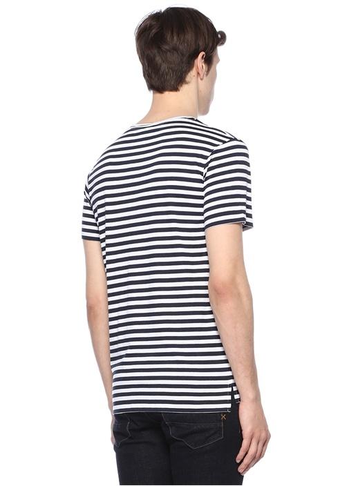 Siyah Beyaz Bisiklet Yaka Çizgili BasicT-shirt