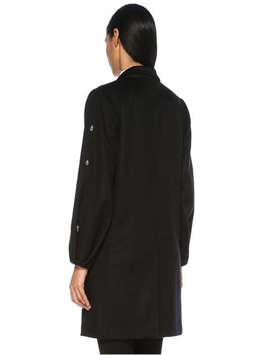 Siyah Kelebek Yaka İşlemeli Balon Kol Yün Palto