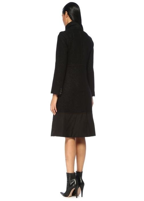 Siyah Yaka Detaylı Simli Düğmeli Yün Palto