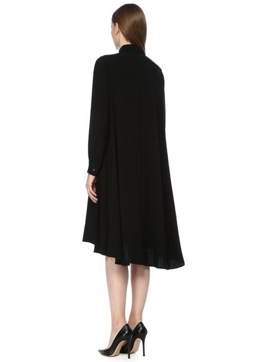 Siyah Yanları Pile Detaylı Midi Krep Gömlek Elbise