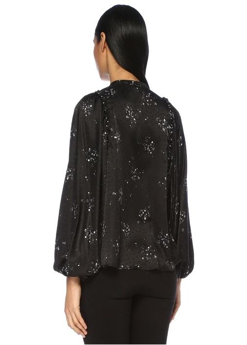 Siyah Çiçekli Fırfırlı Yarasa Kol İpek Bluz