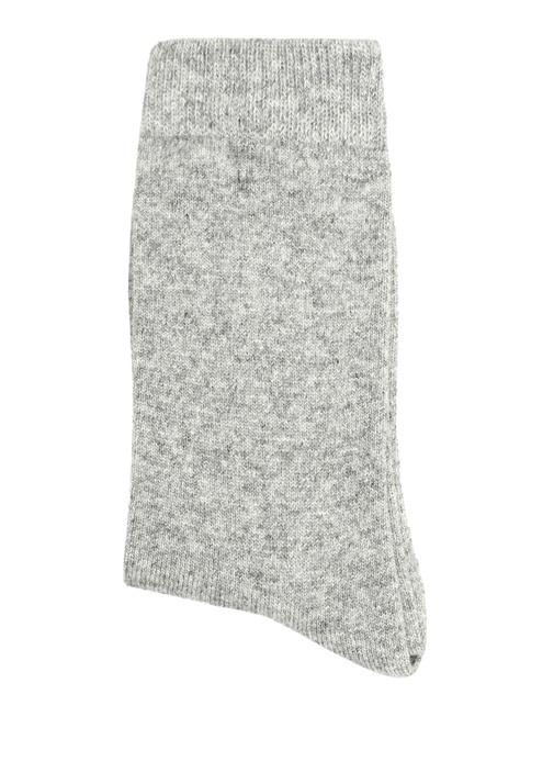 Gri Beyaz Dokulu 2li Kadın Çorap Seti