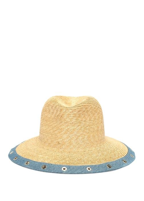 Mavi Bej Denim Detaylı Kadın Hasır Şapka