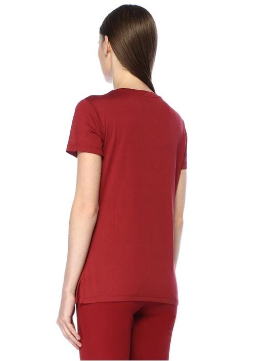 Bordo V Yaka Dökümlü T-shirt