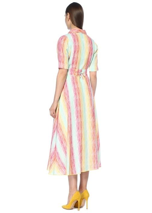 Şal Yaka Kemerli Çizgili Midi Keten Anvelop Elbise