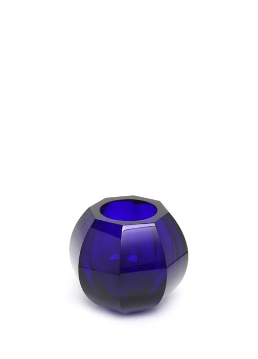 Lacivert Yuvarlak Formlu Kristal Vazo