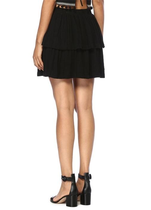 Sienna Siyah Volanlı Mini Etek