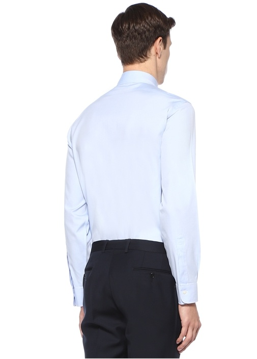 DS Pbt Mavi Düğmeli Yaka Cepli Gömlek