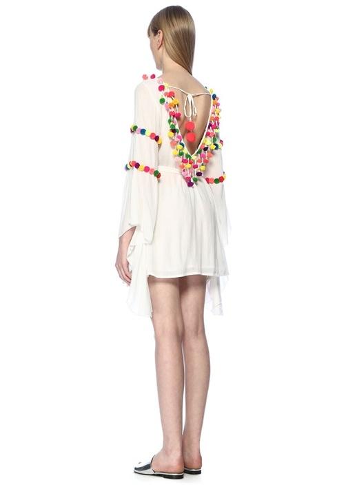 Ruby Beyaz Yakası Bağcıklı Mini Elbise