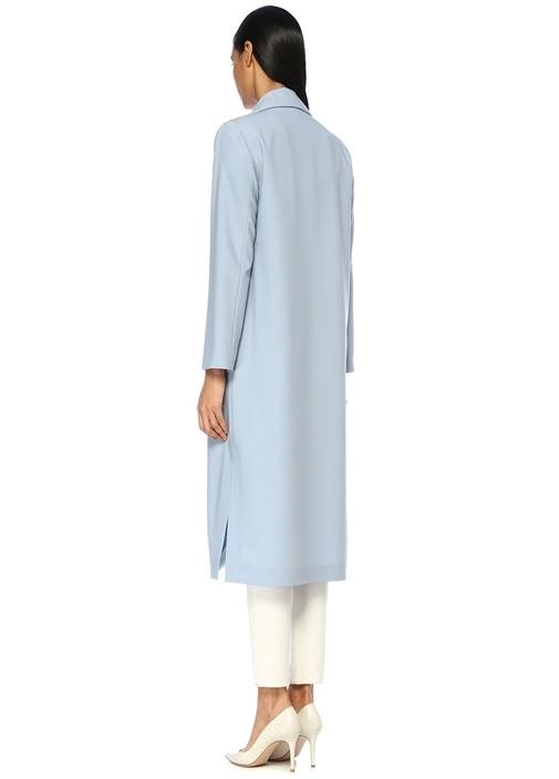 Mavi Kelebek Yaka Zincir Detaylı Uzun Yün Ceket
