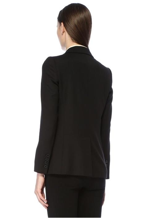 Siyah Kırlangıç Yaka Tek Düğmeli Yün Ceket