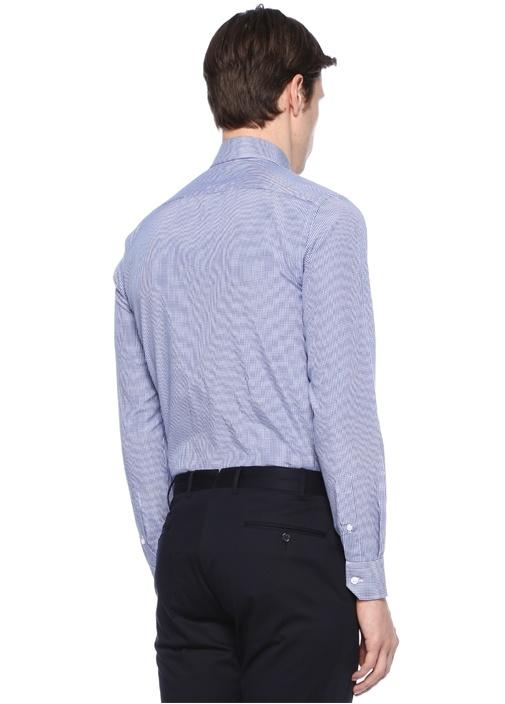 Slim Fit Mavi Pötikareli Yakası DüğmeliGömlek
