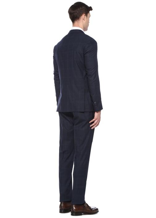 Drop 7 Lacivert Kırlangıç Yaka Yün Takım Elbise