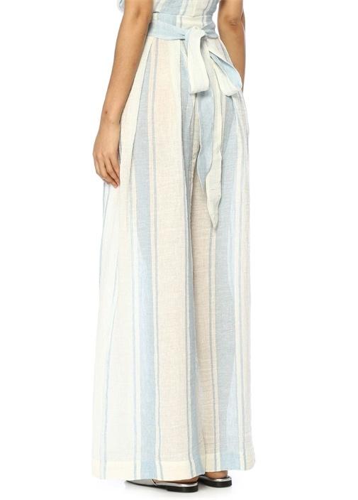 Sandsend Mavi Beyaz Keten Pantolon