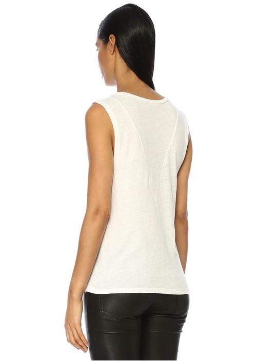 Beyaz Bisiklet Yaka Dikiş Detaylı T-shirt