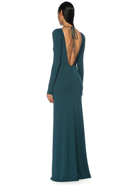 Rianne Yeşil Derin V Yaka İpli Maksi Krep Elbise