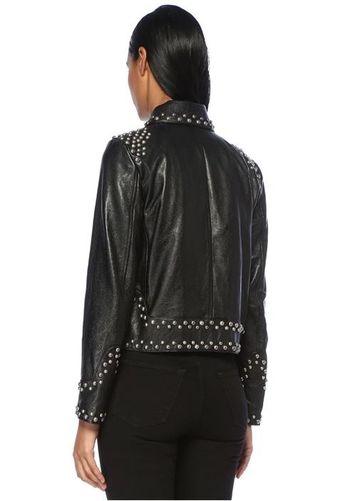 Siyah Trok Detaylı Fermuarlı Deri Ceket