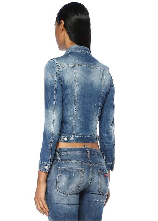 Klasik Düğmeli Yıpratmalı Jean Ceket