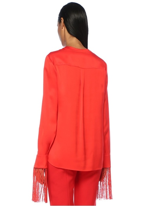 Kırmızı Derin V Yaka Püsküllü Saten İpek Bluz