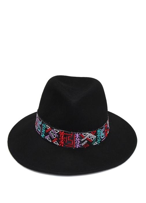 Siyah Geometrik Bantlı Kadın Yün Şapka
