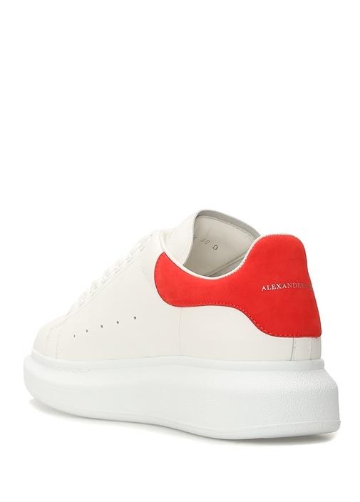 Oversize Beyaz Kırmızı Kadın Deri Sneaker