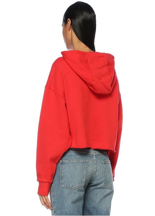 Kırmızı Kapüşonlu Baskılı Oversize CropSweatshirt