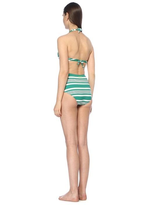 Deniz Yeşil Çizgili Yüksek Bel Bikini Takımı