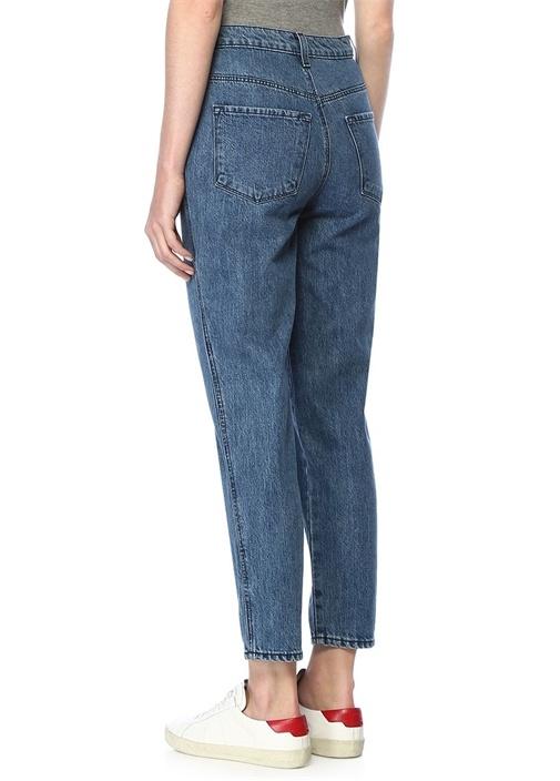 Yüksek Bel Düğmeli Straight Fit Crop Jean Pantolon