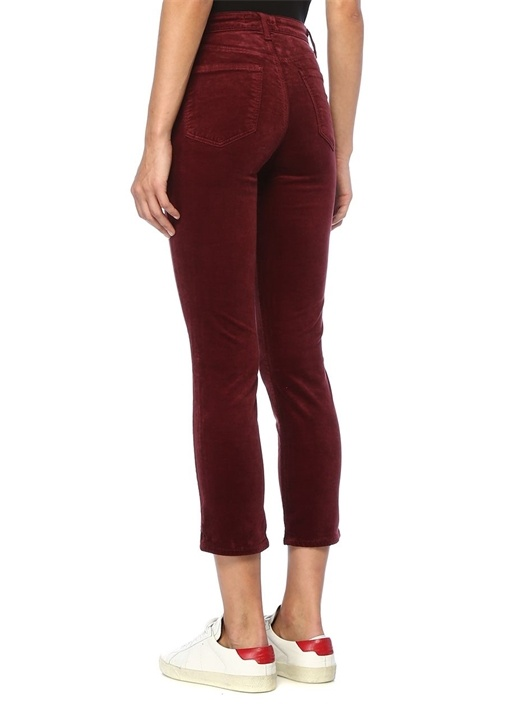 Ruby Bordo Cigarette Kadife Jean Pantolon