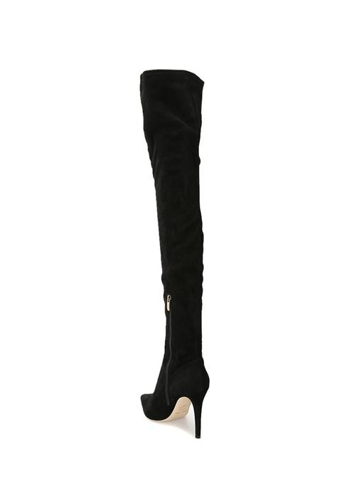 Siyah İnce Topuklu Uzun Süet Çizme