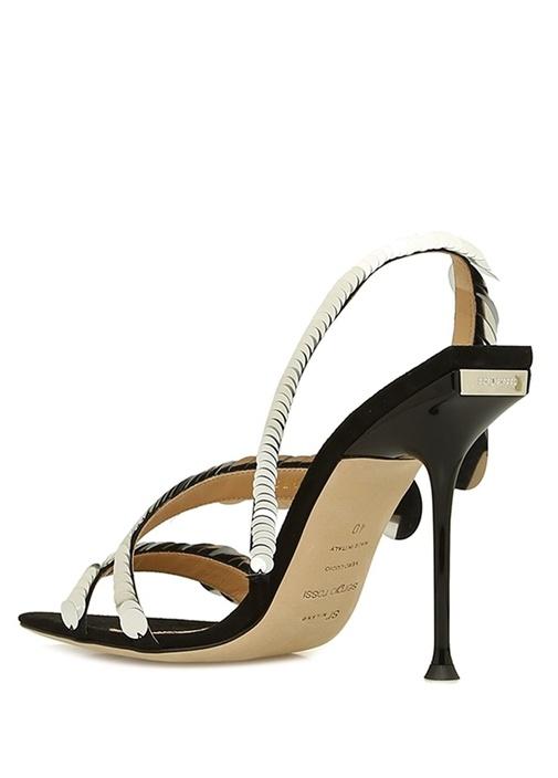 Siyah Pullu İnce Bantlı Kadın Sandalet