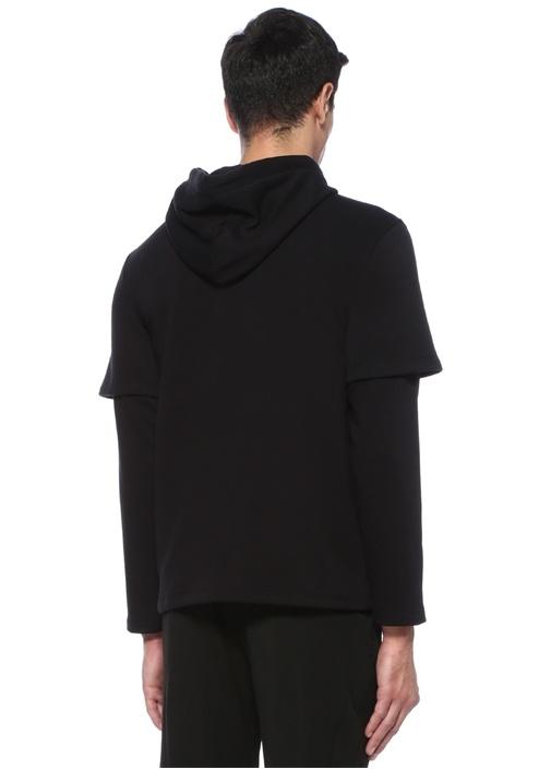 Siyah Kapüşonlu Nakışlı Kol Detaylı Sweatshirt