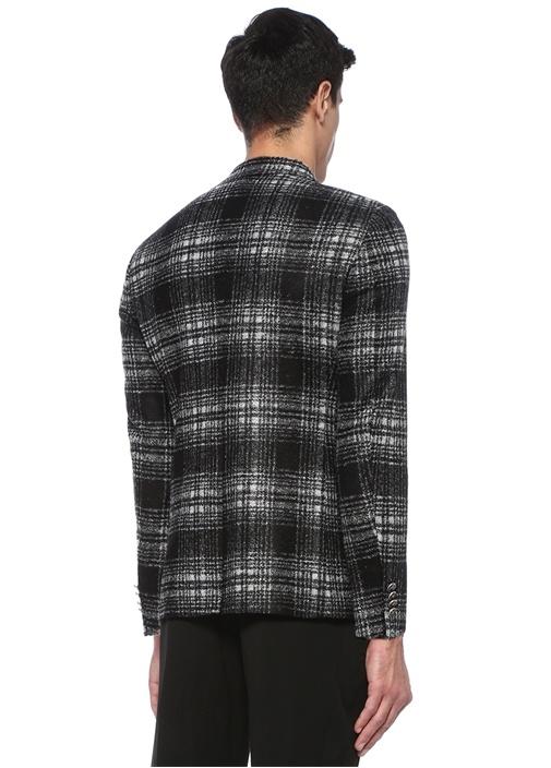 Siyah Kareli Kruvaze Ceket