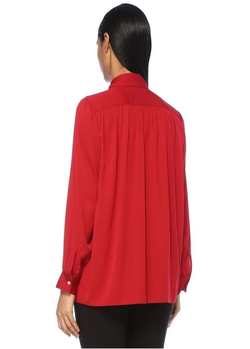 Choi Kırmızı Gizli Düğmeli Büzgülü İpekGömlek