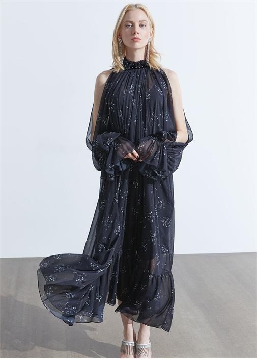 Siyah Çiçekli Kolları Dekolteli Midi Şifon Elbise