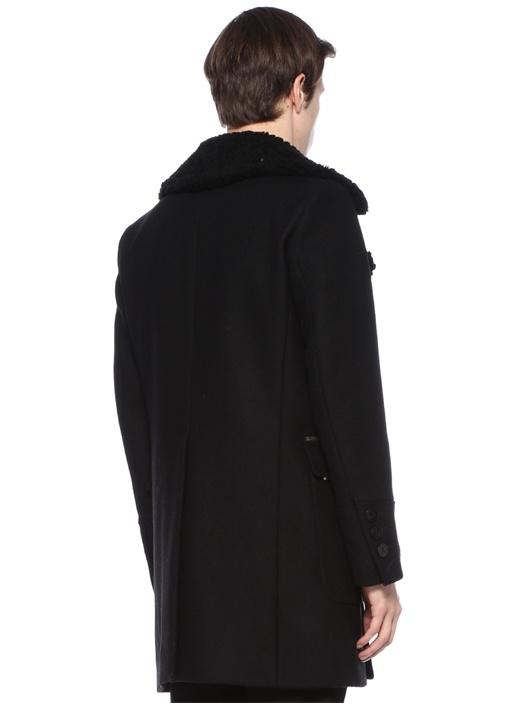 Siyah Kelebek Yaka Cepli Palto