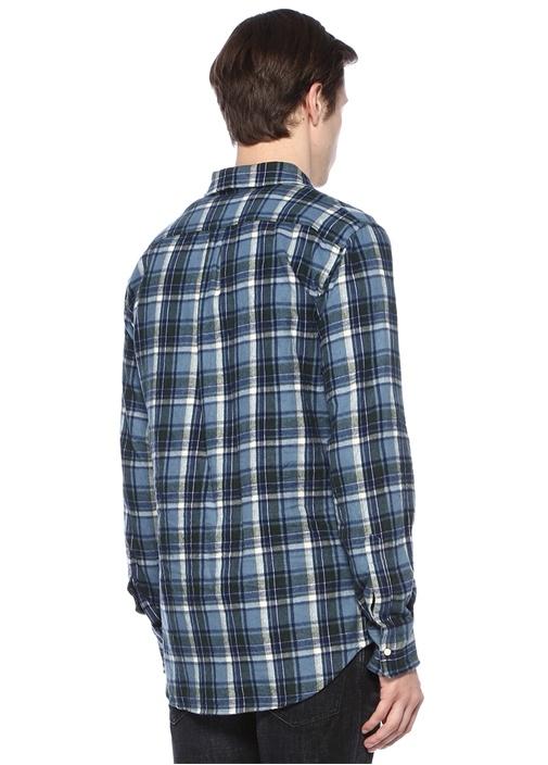 Mavi Polo Yaka Çıtçıtlı Ekose Desenli Gömlek