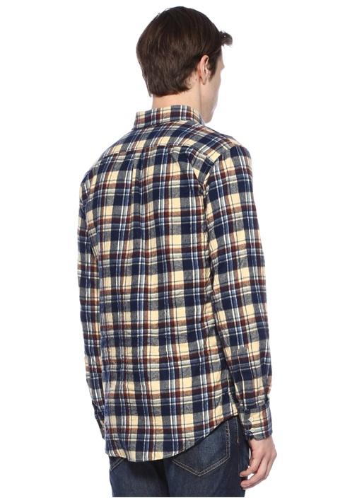 Lacivert Polo Yaka Çıtçıtlı Ekose Desenli Gömlek