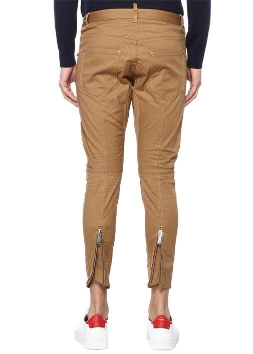 Slim Fit Taba Yıpratma Detaylı Jean Pantolon