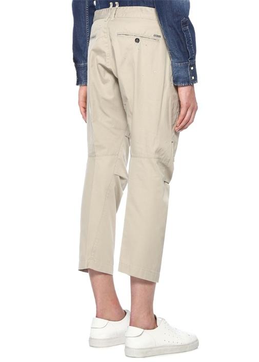 Cropped Fit Gri Patchli Yıpratmalı Kanvas Pantolon