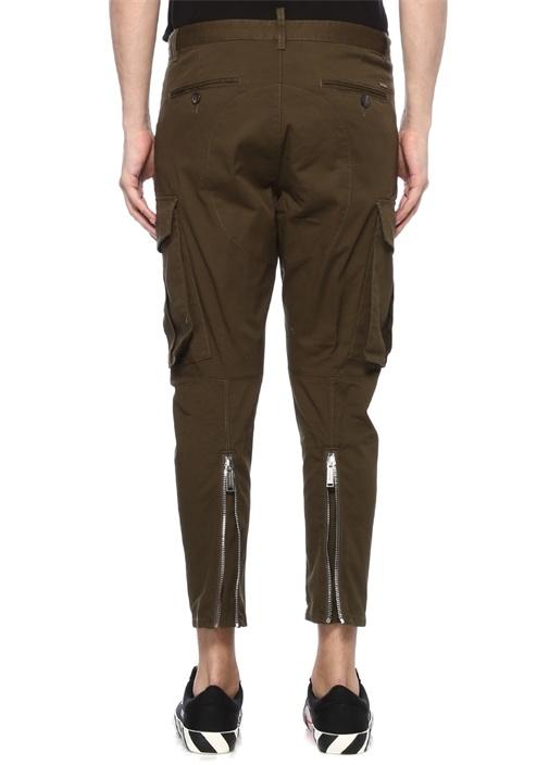Cargo Fit Haki Paçaları Fermuarlı Pantolon