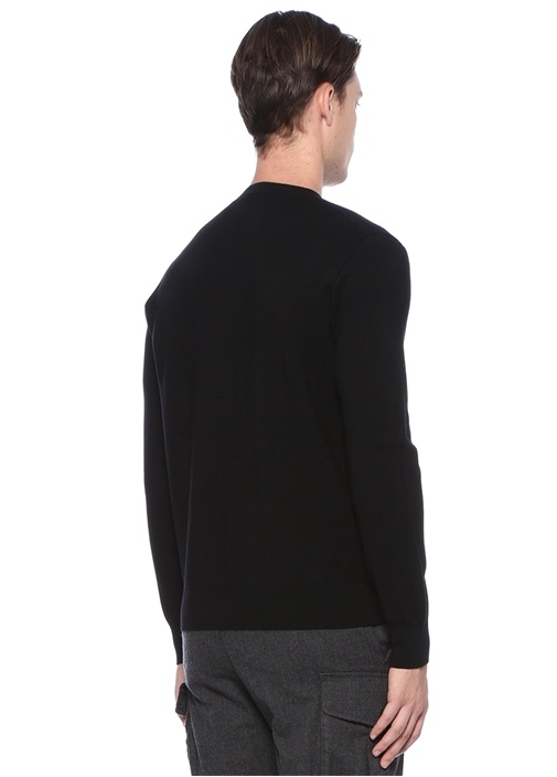 Siyah Bisiklet Yaka Fermuar Detaylı Sweatshirt