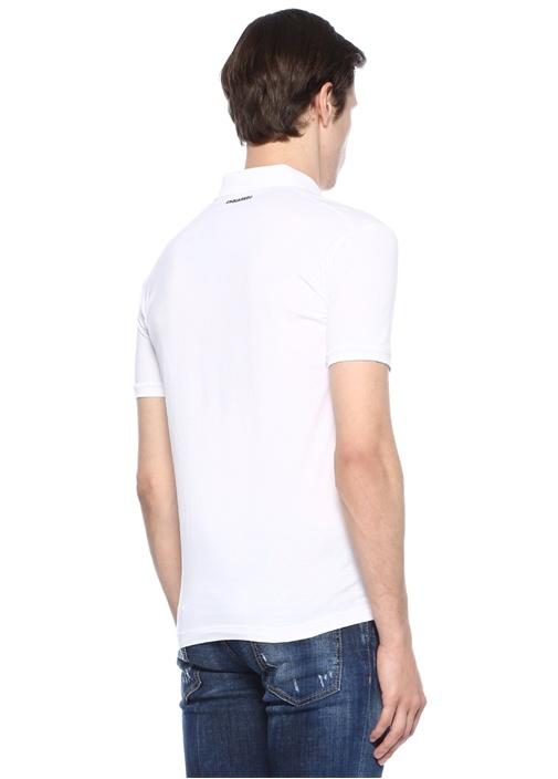 Beyaz Polo Yaka Düğme Kapatmalı T-shirt