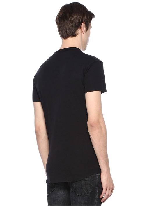 Siyah Bisiklet Yaka Logo Baskılı Basic Yün T-shirt
