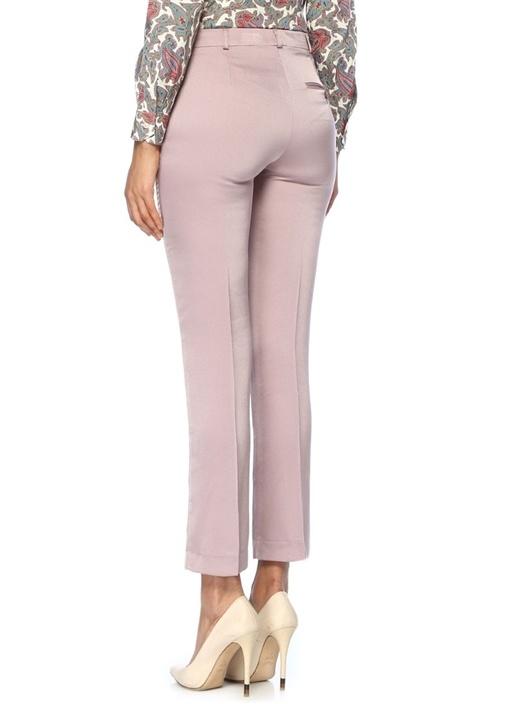Lila Normal Bel Boru Paça Saten Pantolon