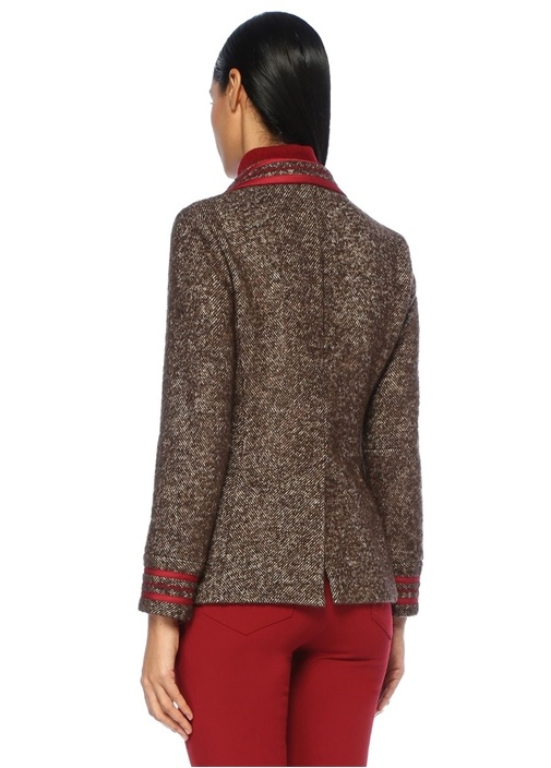 Kahverengi Biye Garnili Kırlangıç Yaka Ceket